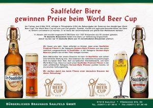 Bronze für 2 Saalfelder Biere bei World Beer Cup 2016